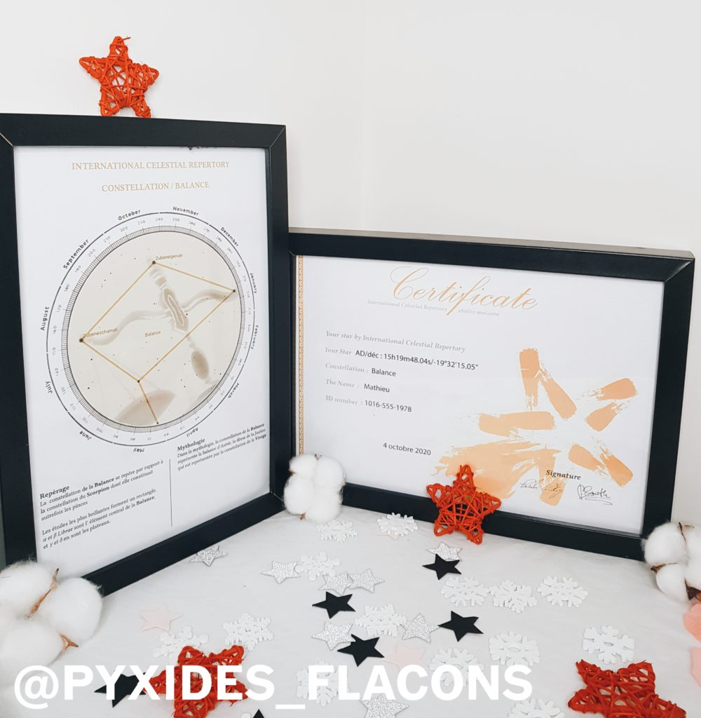 Certificat et étoile du site etoilez-moi